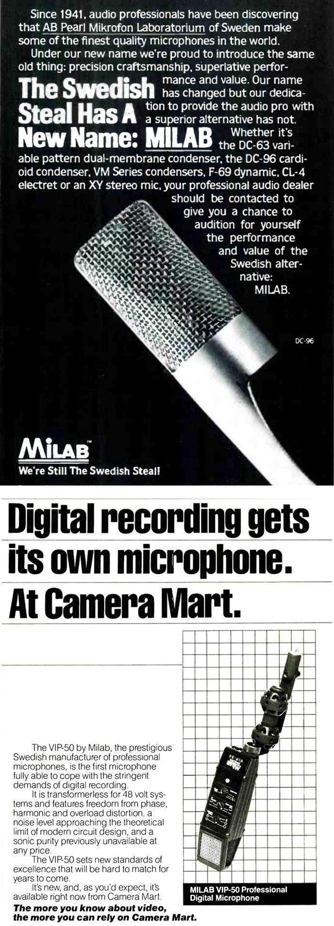 Milab ads 1980s